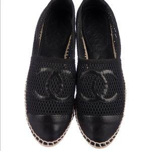 EUC Authentic Chanel black mesh knit espadrilles